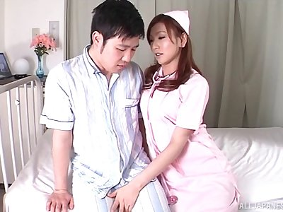 Amateur fucking between a lucky guy and Japanese nurse Emi Harukaze