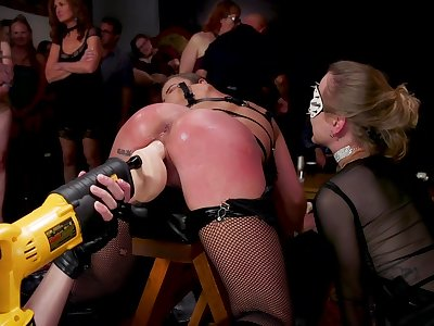 Ground-breaking whore is fucked with crazy sex machine with make noticeable