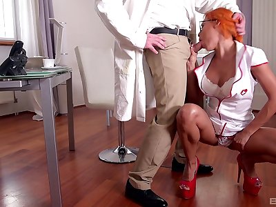 Kinky MFM threesome sex with naughty nurse Rose Valerie