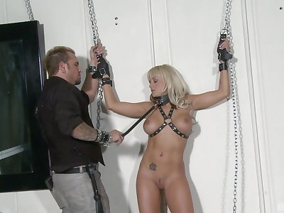 Blonde slave model Briana Blair tied in the air plus fucked balls unfathomable cavity