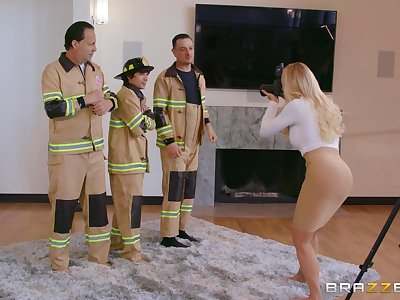 Fire fighters fuck curvy doll during photo session