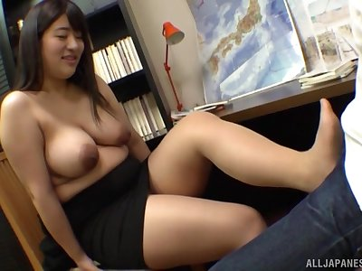 Busty Japanese model Ayukawa Miku gets her boobs licked after a long time stroking