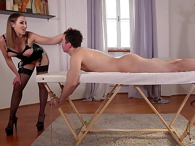 Attendant leash pleases the mistress in the right inches