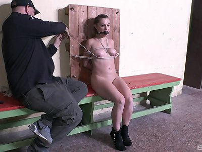 Wonderful scenes of brutal sex for a restrained teenager