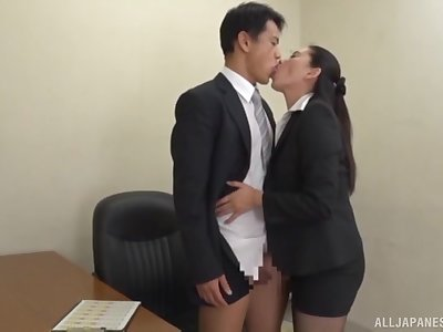 Deep lovemaking after the attired in b be committed to Japanese office MILF gives hophead