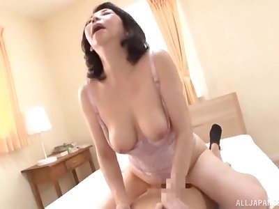 busty Japan mom rides cock until the orgasm