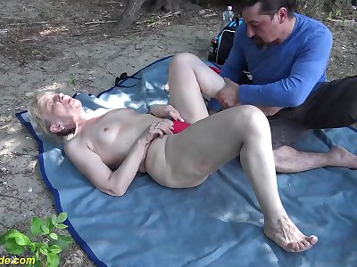 horny 86 years old granny enjoys rough fucking with her big cock toyboy in nature