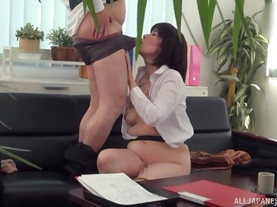 Japanese mature tries hard sex elbow the office