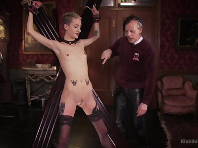Skinny blonde plays submissive be expeditious for her old master