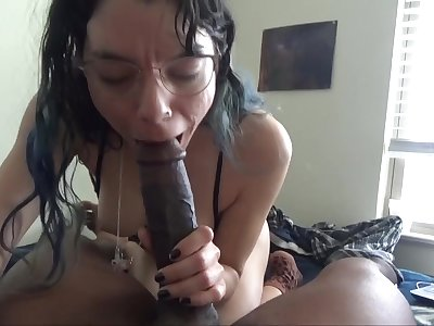 White chick enjoys choking on a chubby outrageous cock