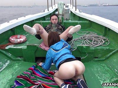 Oriental temptress Sena Sakura enjoying some moisture orgy after fishing